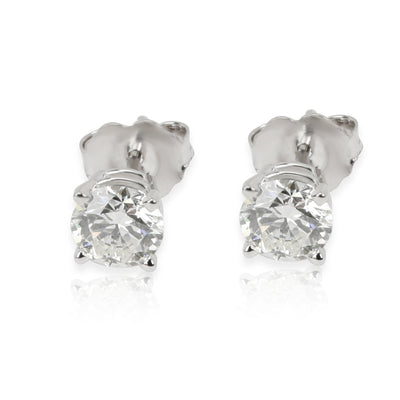 GIA Certified Diamond Stud Earrings in 14K White Gold H VS1 1.01 CTW