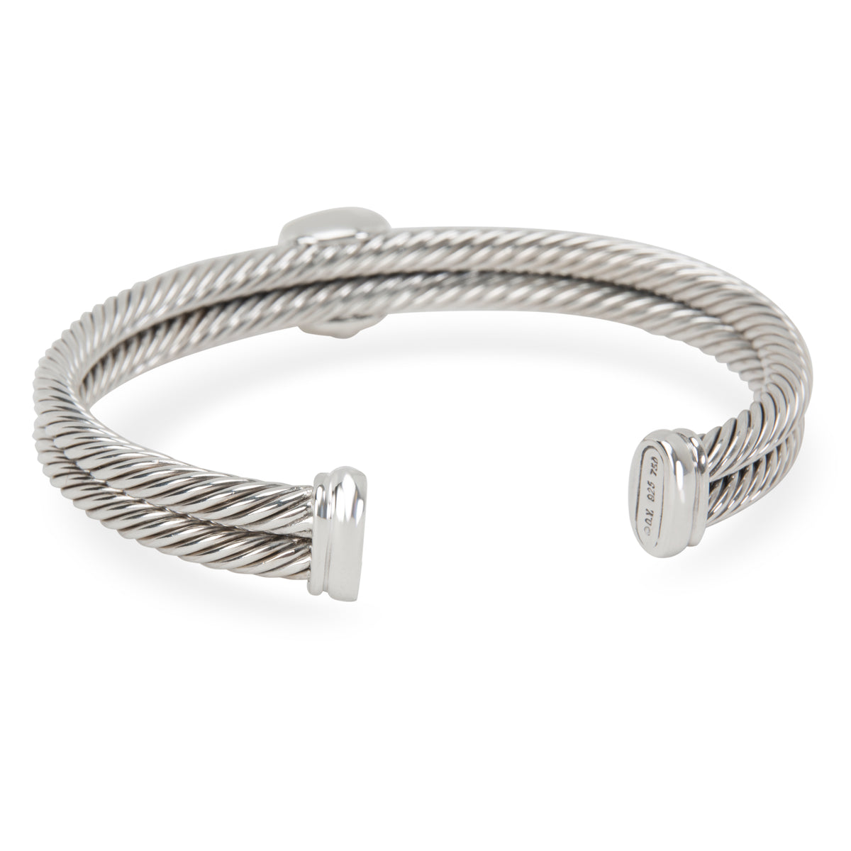 David Yurman Blue Topaz Cable Bangle in Sterling Silver & 18K Yellow Gold