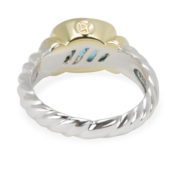 David Yurman Blue Topaz Small Noblesse Ring in Sterling Silver & 18K Yellow Gold