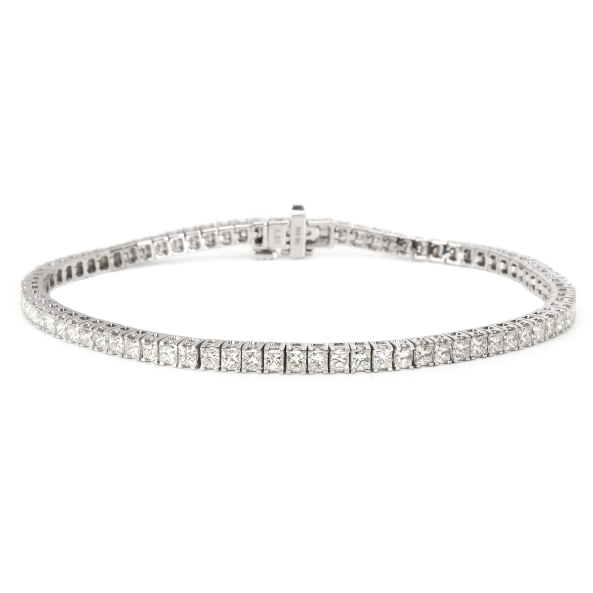 Princess Cut Diamond Tennis Bracelet in 14KT White Gold 4.17 ctw