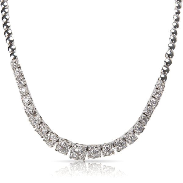Miracle Style Diamond Riviera Necklace in 18KT White Gold 3.50 ctw