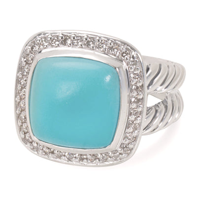 David Yurman Turquoise & Diamond Albion Ring in Sterling Silver