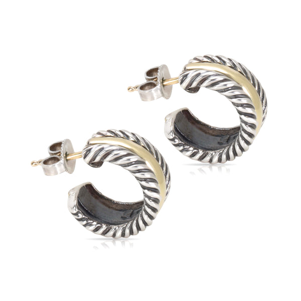 David Yurman Mini Hoop Huggie Earrings in 14K Yellow Gold & Sterling Silver