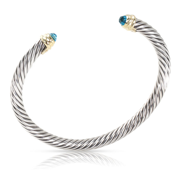 David Yurman Blue Topaz Cable Bangle in 14K Yellow Gold & Sterling Silver