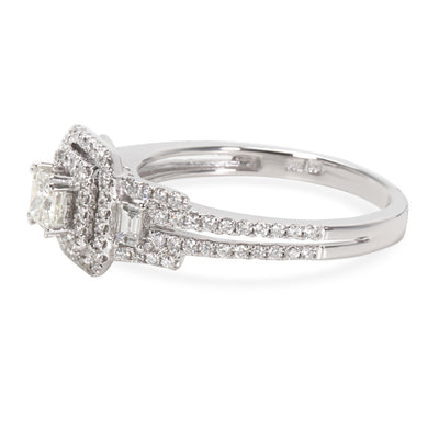 Princess Cut Diamond Halo Engagement Ring in 14KT White Gold 0.70 ctw