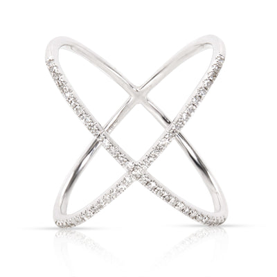 EF Collection Diamond X Ring in 14K White Gold (0.20 CTW)