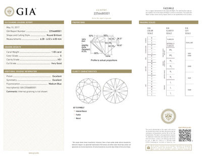 GIA Certified 1.00 Ct Round cut G VS1 Loose Diamond