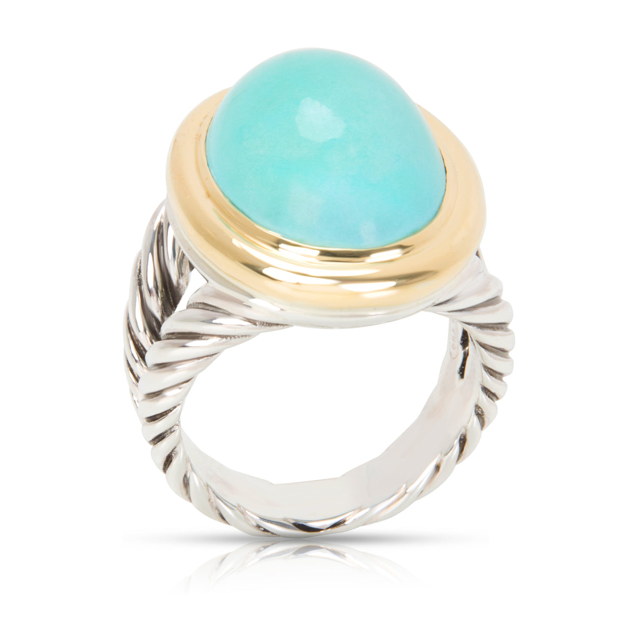David Yurman Oval Turquoise Ring in Sterling Silver & 18K Yellow Gold
