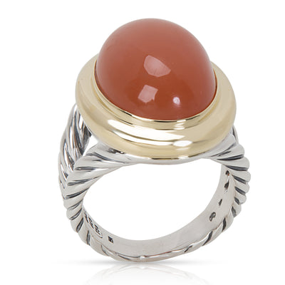 David Yurman Oval Peach Quartz Ring in Sterling Silver & 18K Yellow Gold