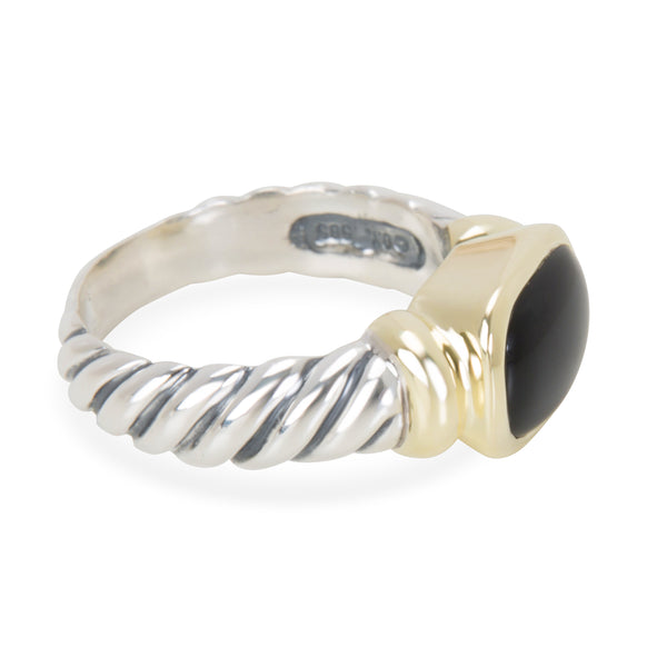 David Yurman Noblesse Black Onyx Cable Ring in Sterling Silver & 14K Yellow Gold