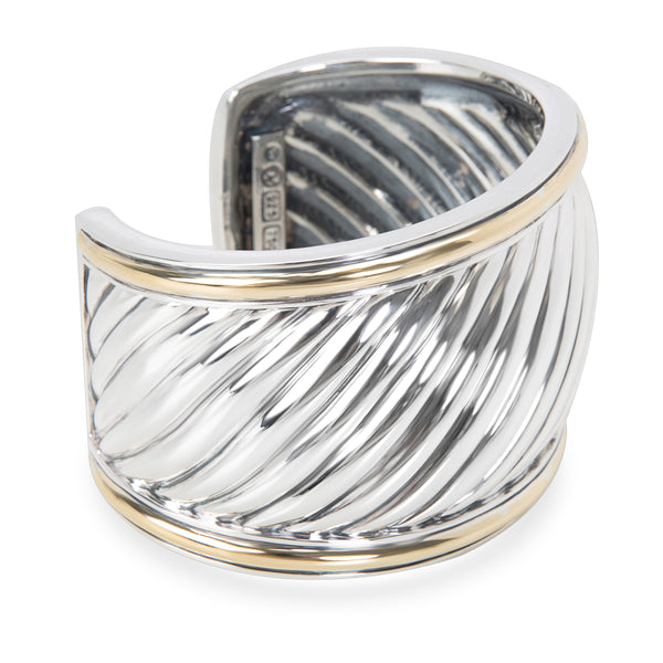 David Yurman Wide Sculpted Cable Cuff in Sterling Silver & 18K Yellow Gold