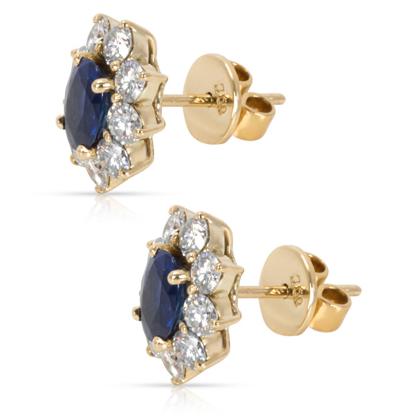 Halo Diamond & Blue Saphire Earrings in 18KT Yellow Gold 1.71CTW
