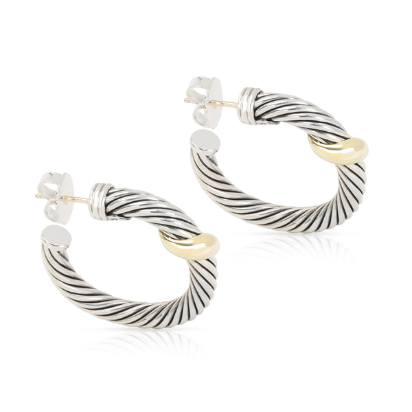David Yurman Cable Hoop Earrings in 14K Yellow Gold/Sterling Silver