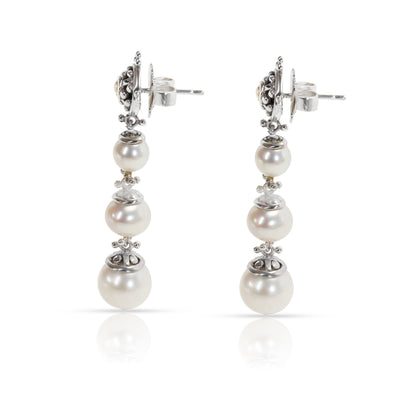 John Hardy Dot Pearl Earrings in Stainless Steel & 18KT Yellow Gold