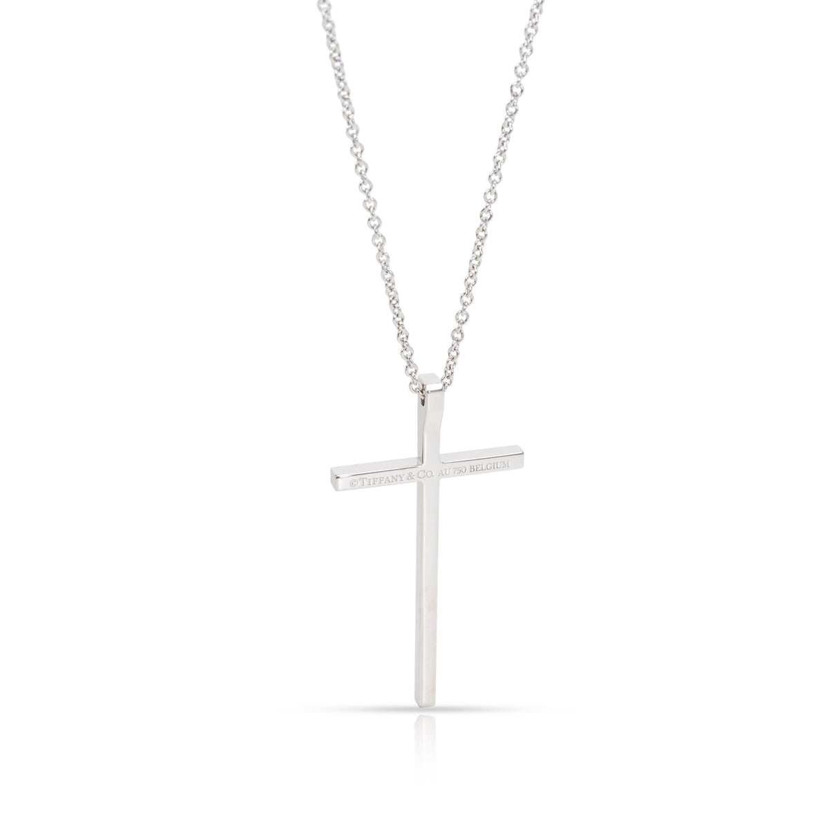 Tiffany & Co. Metro Cross Diamond Necklace in 18K White Gold 0.31 CTW