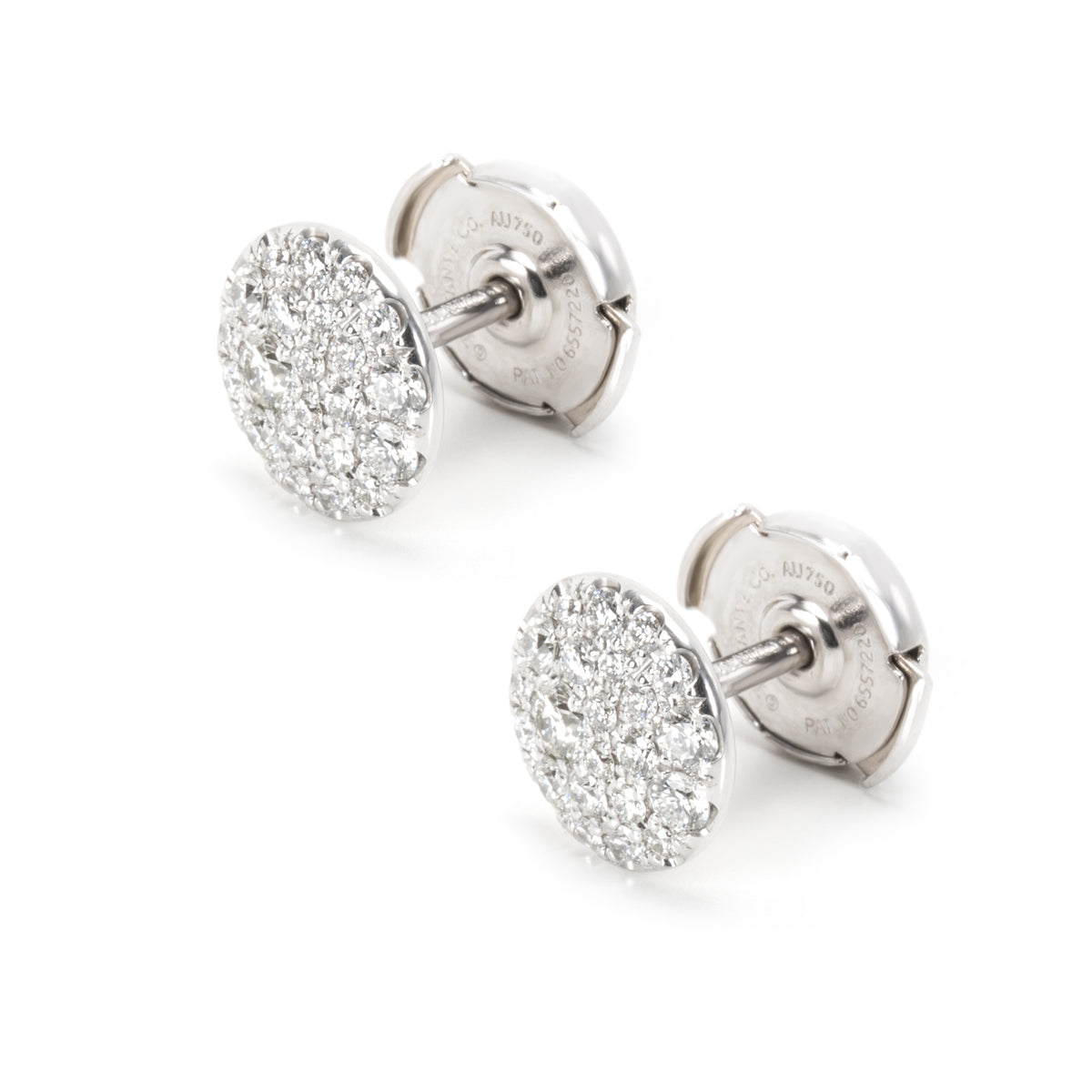 Tiffany & Co. Pave Diamond Stud Earring in 18k White Gold 0.4 CTW