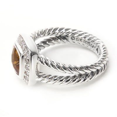 David Yurman Petite Albion Citrine Ring in  Sterling Silver 0.2 CTW