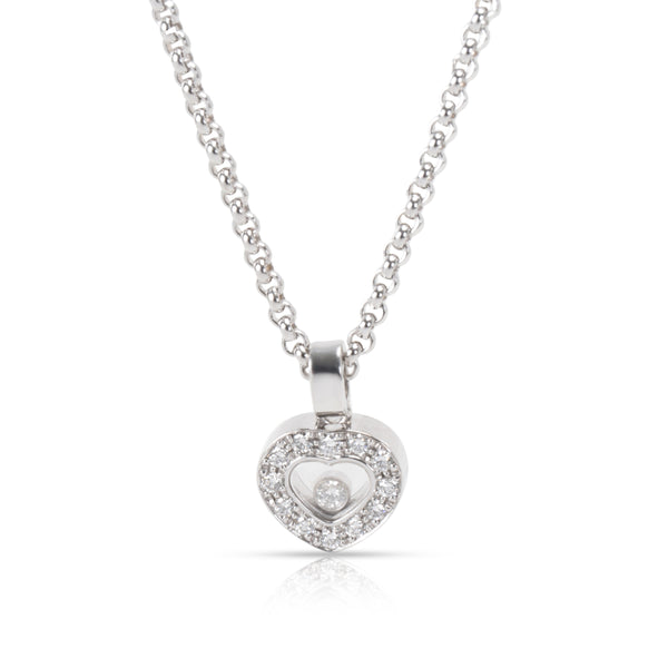 Chopard Happy Hearts Diamond Necklace in 18K White Gold 0.25 CTW