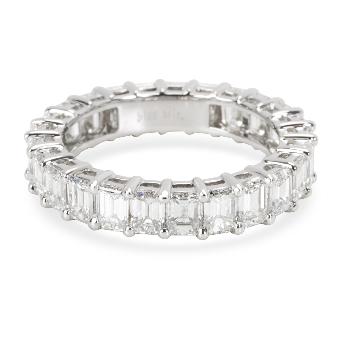 Blue Nile Emerald Diamond Eternity Band in Platinum G VS2 4.41 CTW