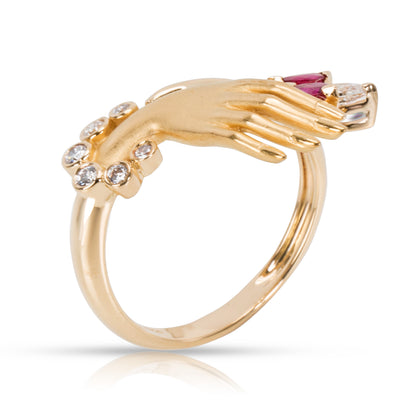 Carrera y Carrera Hand Holding Marquise Diamond & Ruby Ring 18KT Gold 0.2 CTW