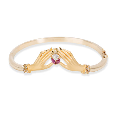 Carrera y Carrera Hand Holding Marquise Diamod & Ruby Bangle 18K Gold 0.15 CTW