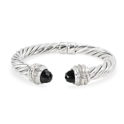 David Yurman Crossover Diamond & Onyx Bangle in  Sterling Silver 0.1 CTW