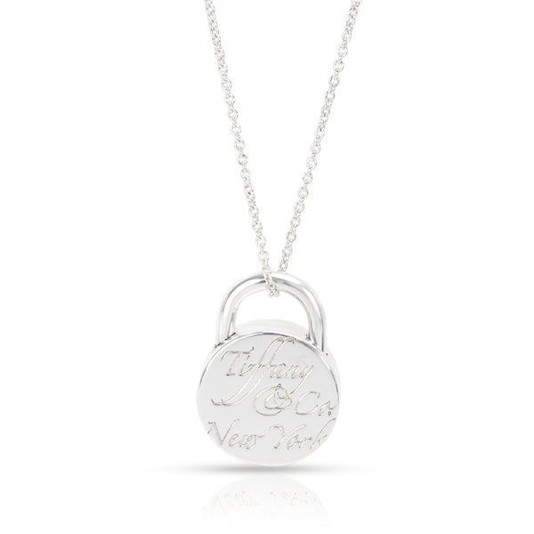Tiffany & Co. Notes Round Lock Necklace in  Sterling Silver