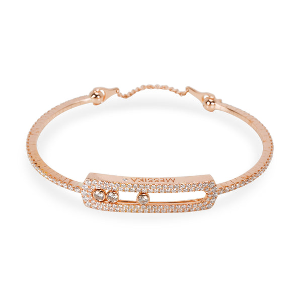 Messika Move Skinny Pave Diamond Bracelet in 18K Pink Gold 1.25 CTW