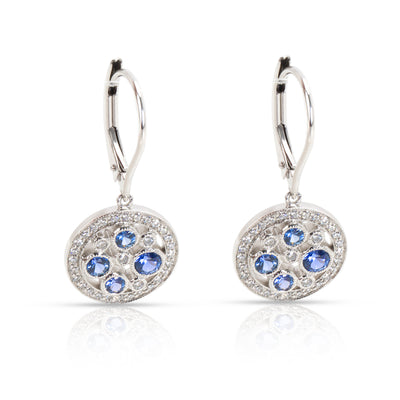 Tiffany & Co. Cobblestone Sapphire & Diamond Earrings in  Platinum Blue 0.17 CTW