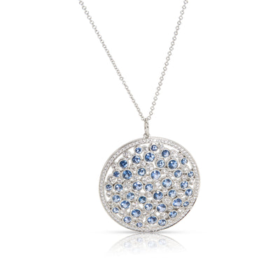Tiffany & Co. Medallion Cobblestone Diamond Sapphire Necklace in  Platinum 0.94
