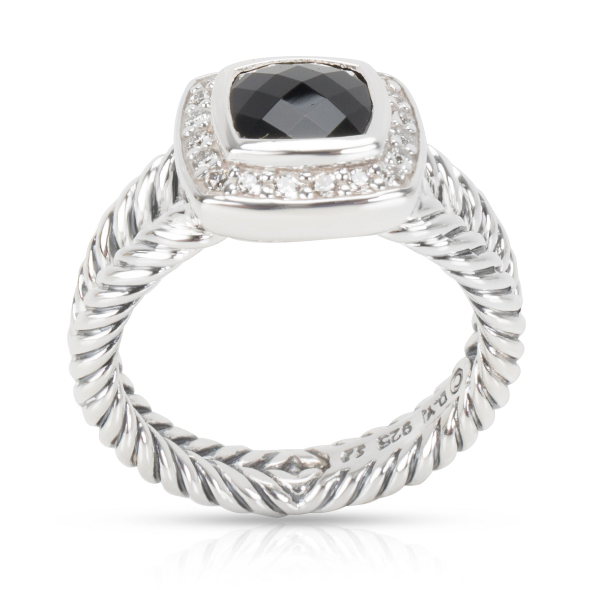David Yurman Black Onyx & Diamond Albion Ring in  Sterling Silver 0.20 CTW