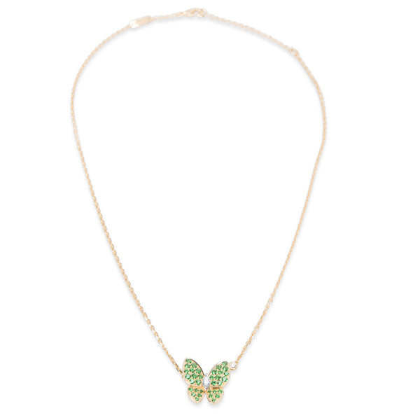 Van Cleef & Arpels Two Butterfly Diamond Tsavorite Necklace in 18K Gold 0.2 CTW