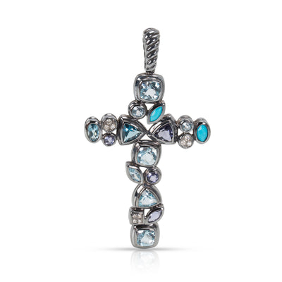 David Yurman Confetti Cross Diamond Pendant in  Sterling Silver 0.1 CTW