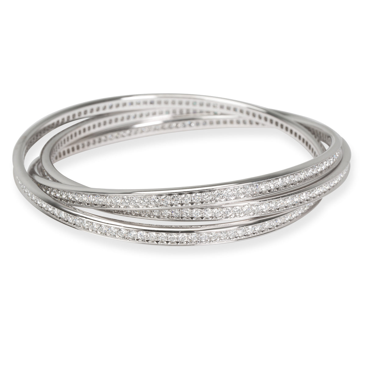 Cartier Trinity Diamond Bangle in 18K White Gold (6.05 CTW)