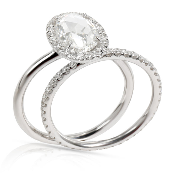 Halo Oval Rose Cut Diamond Engagement Wedding Set in 18K Gold G VS1 2.55 CTW