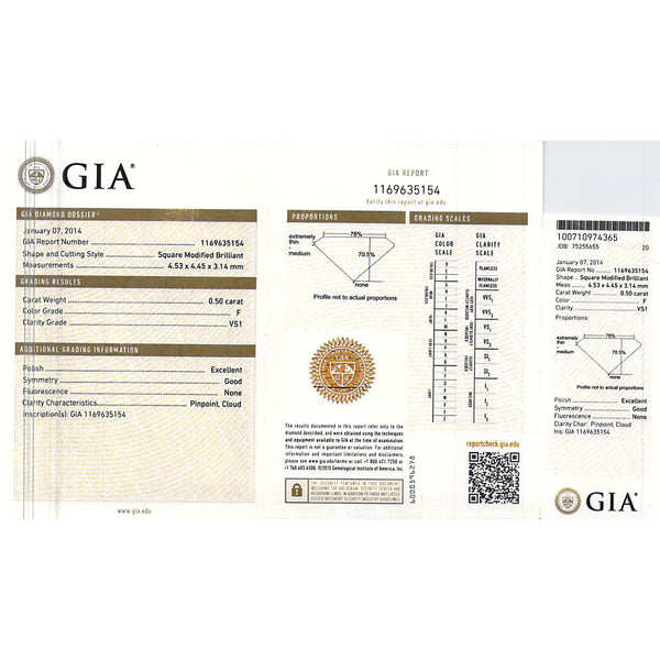GIA Certified Diamond Stud Earrings in 18K White Gold F VS1 (GIA) 1.00 CTW