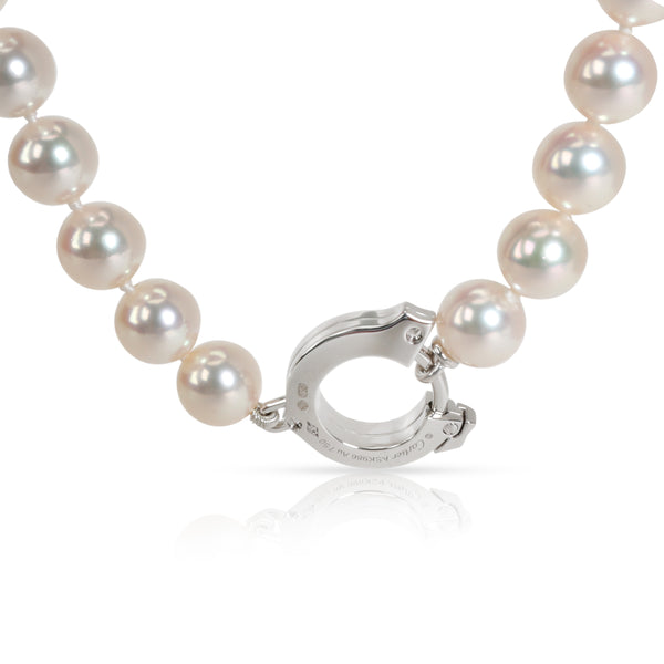 Cartier C Clasp Akoya Pearl & Diamond Necklace in 18K White Gold 0.20 CTW