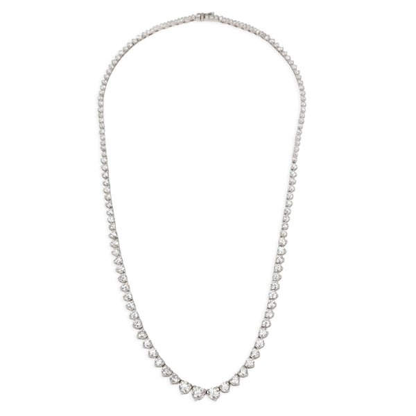 Diamond Rivera Graduated 3 Prong Tennis Necklace in 14K White Gold 12 CTW