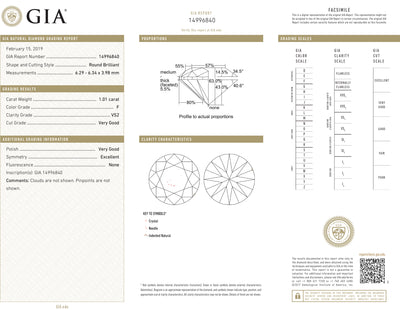GIA Certified 1.01 Ct Round cut F VS2 Loose Diamond