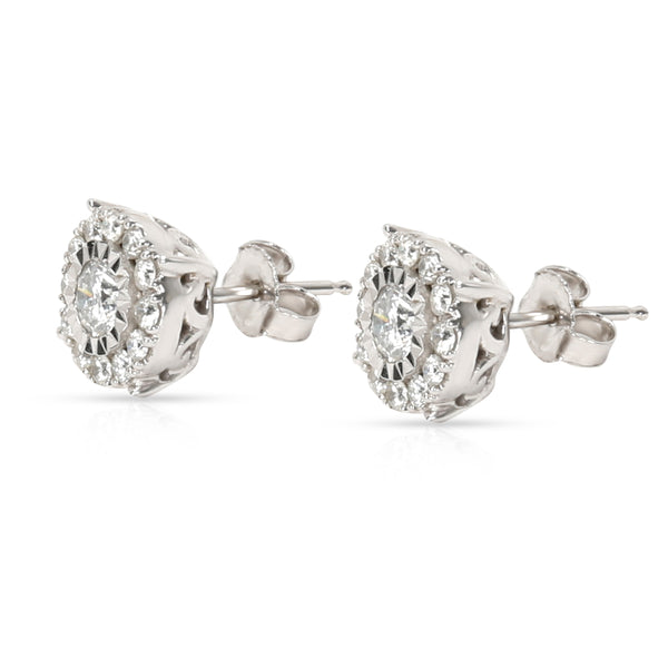Miracle Set Diamond Stud Earring in 10K White Gold 0.55 CTW
