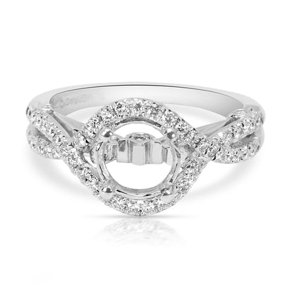 Verragio Couture Layered Braided Halo Diamond Engagement Ring Setting 0.30 ctw