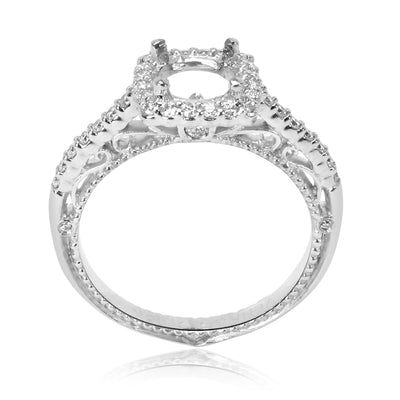 Verragio Scrolling Square Diamond Halo Engagement Ring Setting