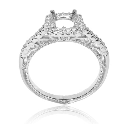 Verragio Diamond Cushion Engagement Ring Setting in 18K White Gold