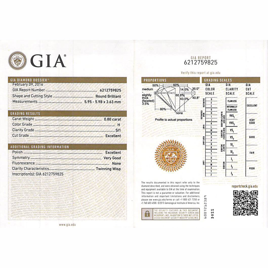 GIA Certified 0.80 Ct Round cut H SI1 Loose Diamond
