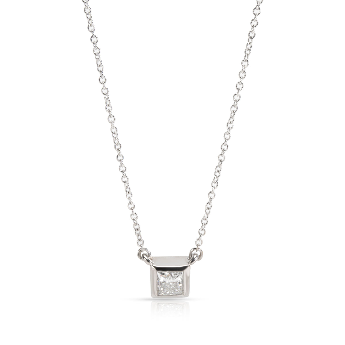 GIA Certified Princess Cut Diamond Solitaire Pendant in 14K White Gold (0.45 ct)
