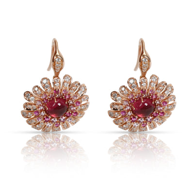 Roberto Coin Art Nouveau Floral Drop Diamond Earrings in 18K Rose Gold 0.58 CTW