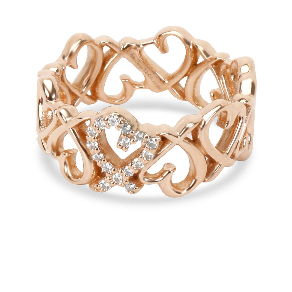 Tiffany & Co. Elsa Peretti Loving Heart Diamond Band in 18K Rose Gold 0.06 CTW