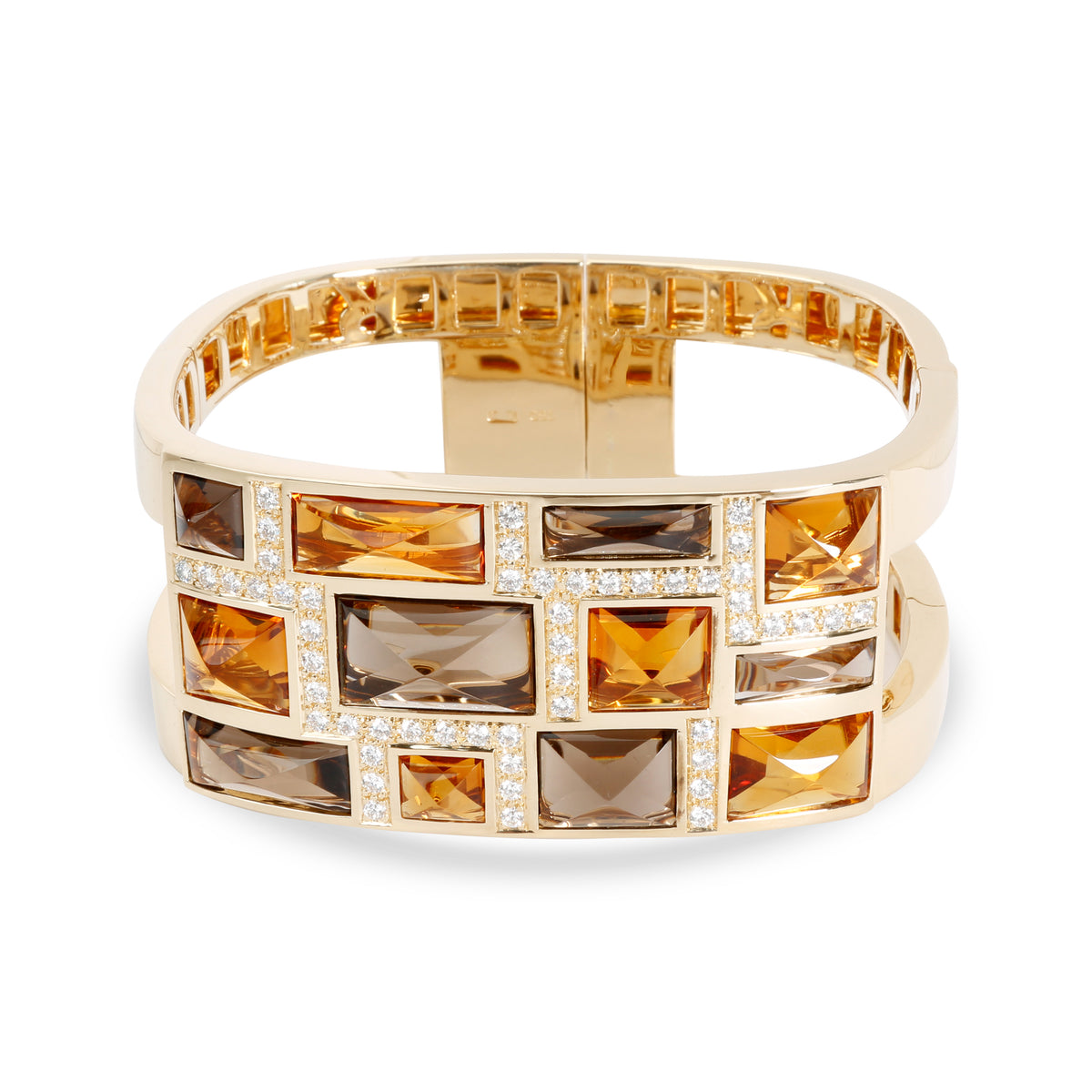 Rodney Rayner Citrine, Smoky Topaz & Diamond Bangle in 18K Yellow Gold 1.23 ctw