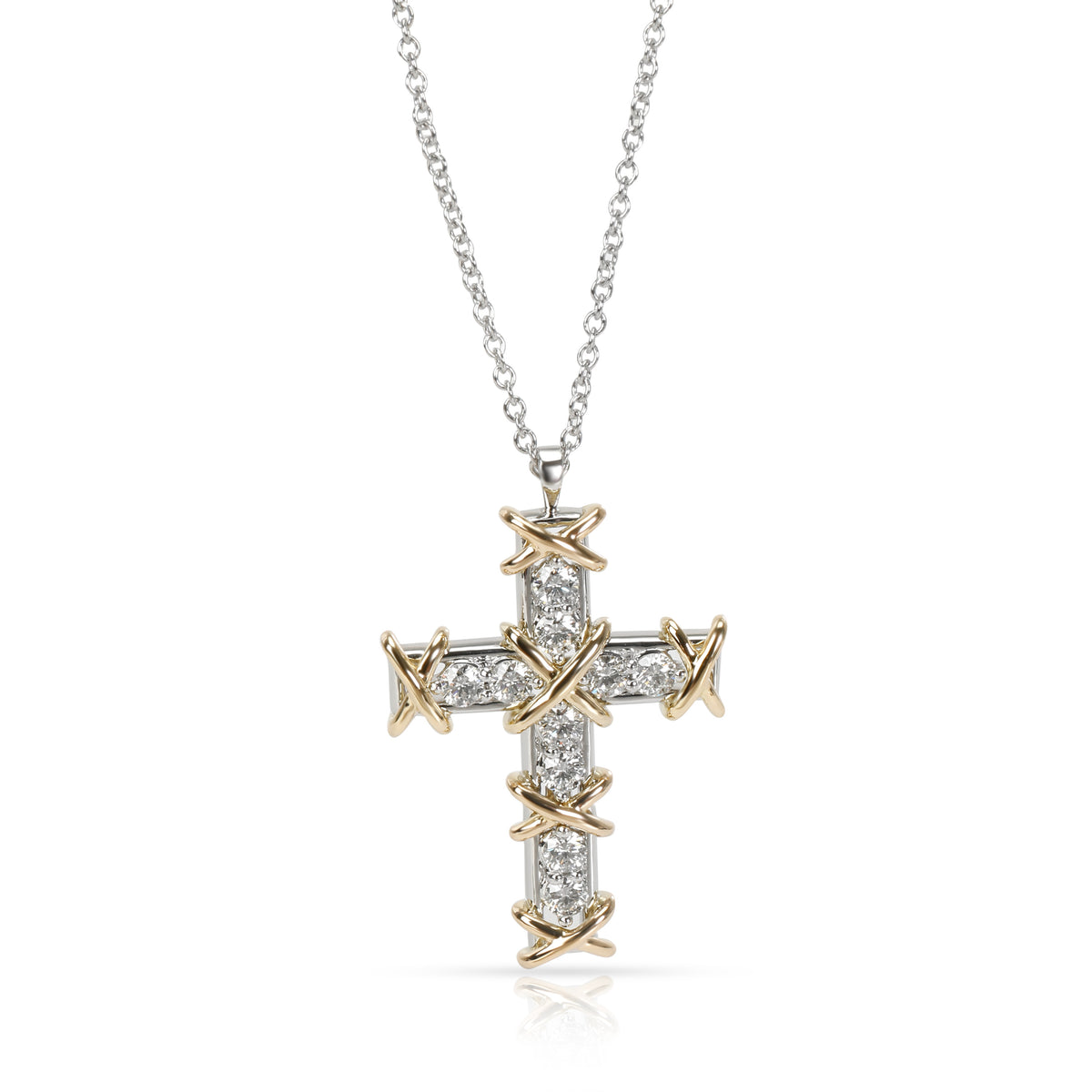 Tiffany & Co. Schlumberger Diamond Cross Pendant in 18K Gold (0.40 CTW)
