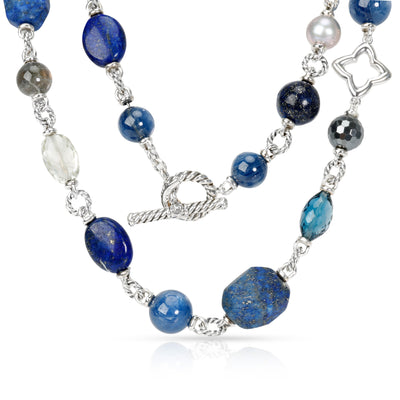 David Yurman Bead Necklace with Lapis Lazuli, Crystal, Gray Pearls & Hematite